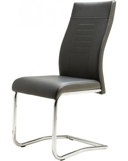 """Lot de 6 chaises """"Lucky"""" PVC noir et gris Design"""