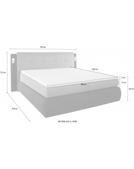 COLLECTION AB Boxspring »Borna« 180/200cm + LED + coffre et surmatelas