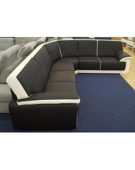 Canapé Nadine PVC noir et blanc 265 x 325 cm