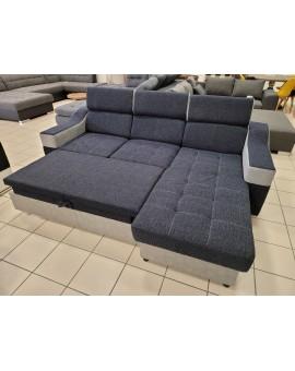 Salon Maxi Tissus Gris/Bleu PVC Gris fonction lit 245/180cm