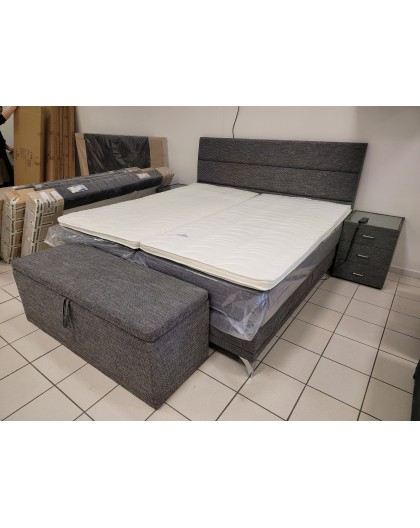 Lit Boxspring 200/200cm electrique avec 2 chevets + Coffre de lit