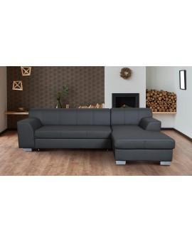 Canapé Domi PVC Gris Lit + Coffre