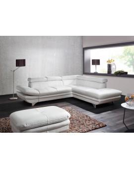Canapé Enterprise PVC Blanc fonction lit + Pouf
