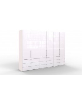 Armoire Loft 300/217cm verre blanc 9 tiroirs