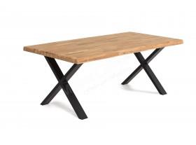Table Tim Elfo 240cm chêne huilé pieds X + 8 chaises