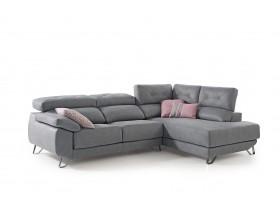 Canapé Goya rinconera fija tissus gris + sytème allonge relax