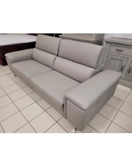Canapé cuir Center Cuir gris Relax Electrique