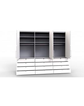 Armoire à portes pliantes WIEMANN »Loft« vitrée 300/236cm 12 tiroirs