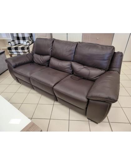 Canapé cuir véritable Choco Cuir Center relax electrique