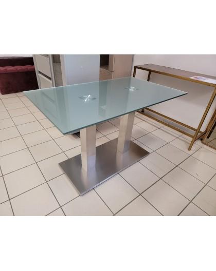 Table Verre trempé Pied Inox 120/70cm