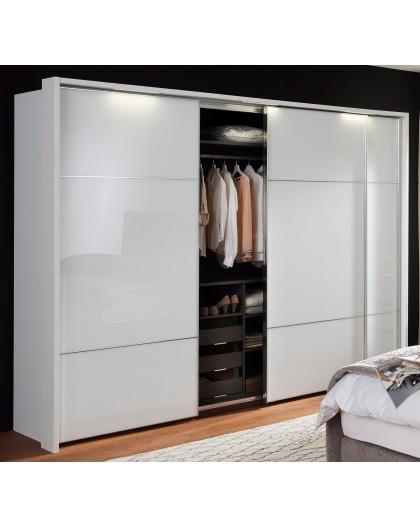Armoire Marcato 2.3« avec façades en verre blanc, 300/223cm